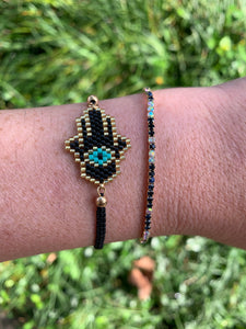 Two Bracelet Set Hamsa & Rhinestones