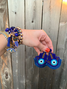 Blue Hamsa Fringe Earrings & Bracelet
