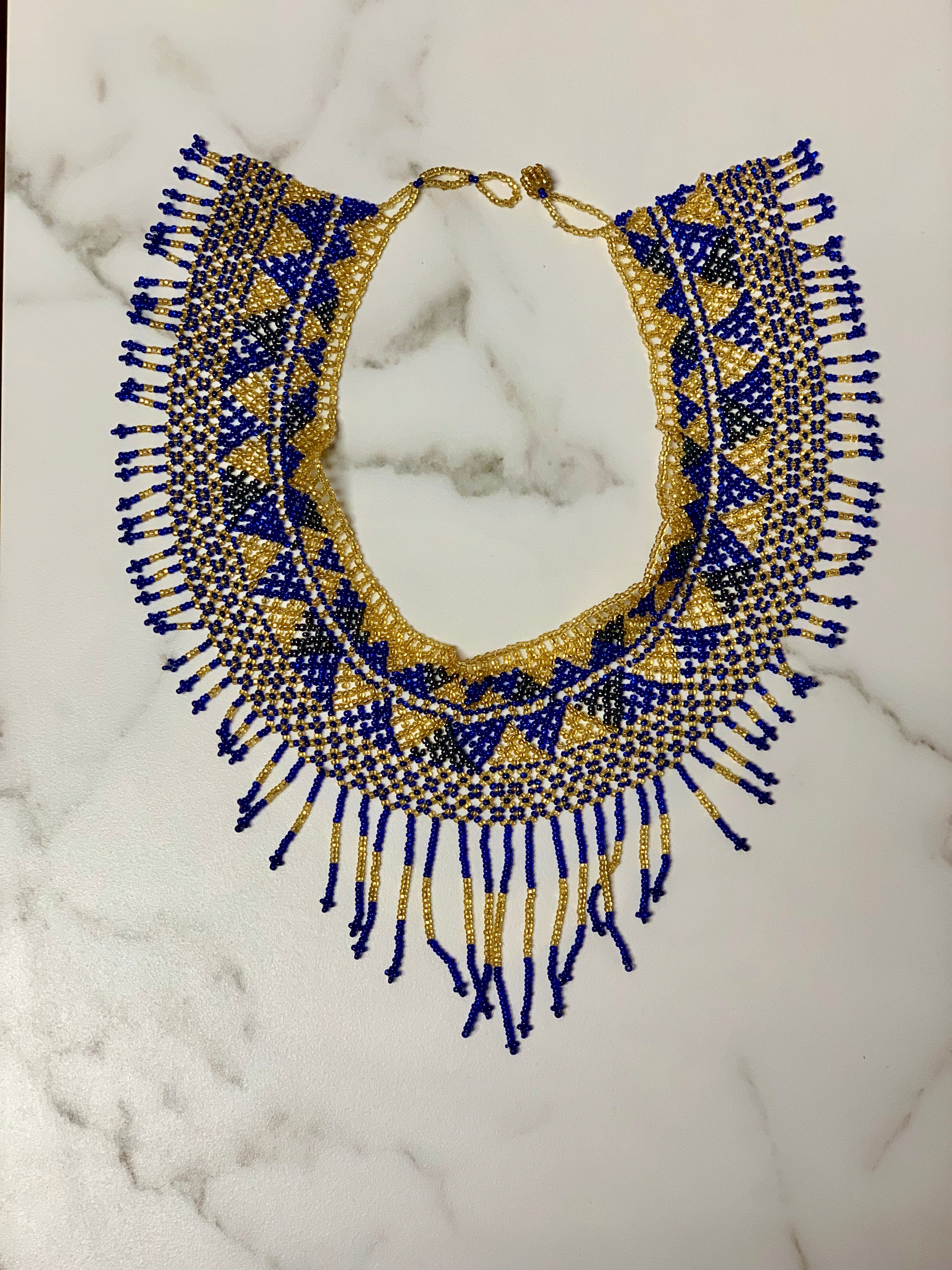 Royal Blue & Gold Handmade Beaded Necklace