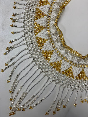 White & Gold Handmade Beaded Necklace