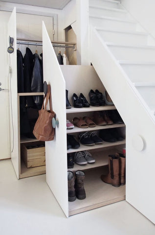 shoe storage ideas under stairs