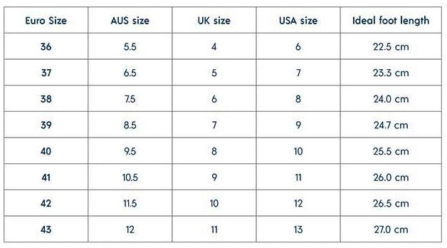Walnut Melbourne womens shoe size chart