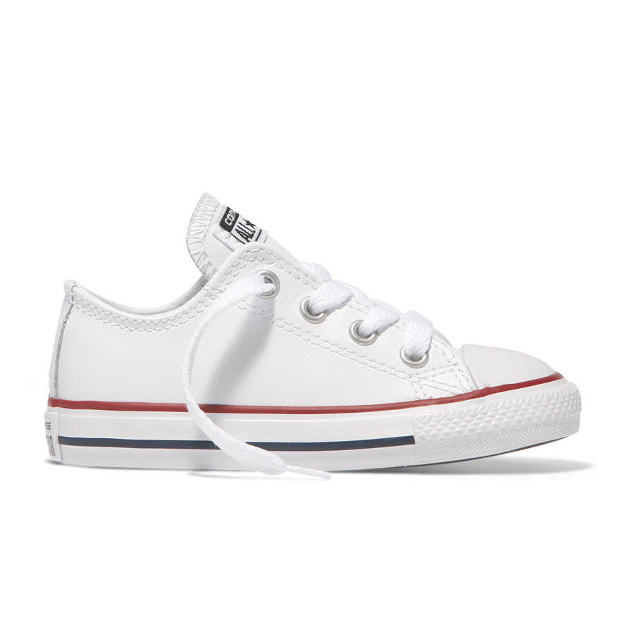 568e2df8691 Low Top All White Leather Toddler Converse Sneakers | Tiptoe & Co