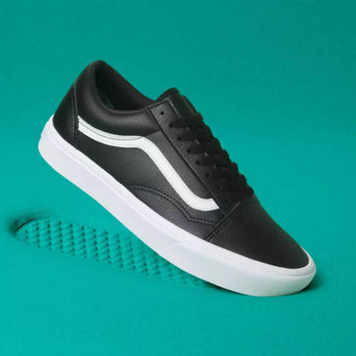 VANS Womens Old Skool Black Leather ComfyCush