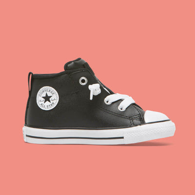 CONVERSE Street Mid Black Leather Toddler CTAS
