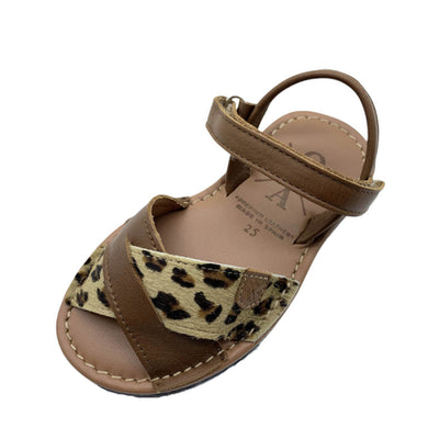 POPA Girls leopard & tan leather sandals