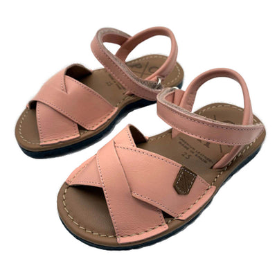 POPA Girls rose pink leather sandals