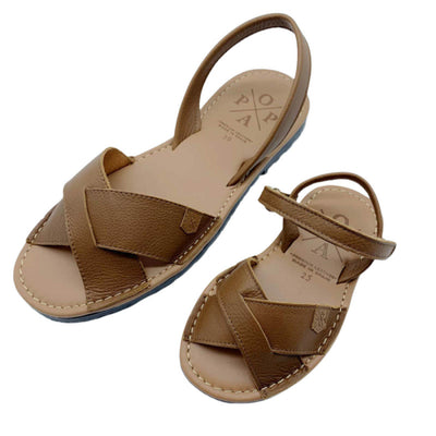 POPA Girls tan leather sandals