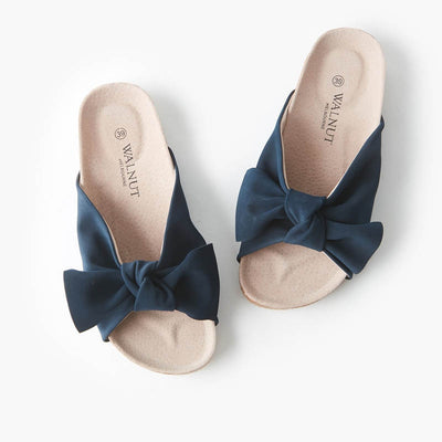 WALNUT MELBOURNE Womens Somerset Bow Slide Dark Navy
