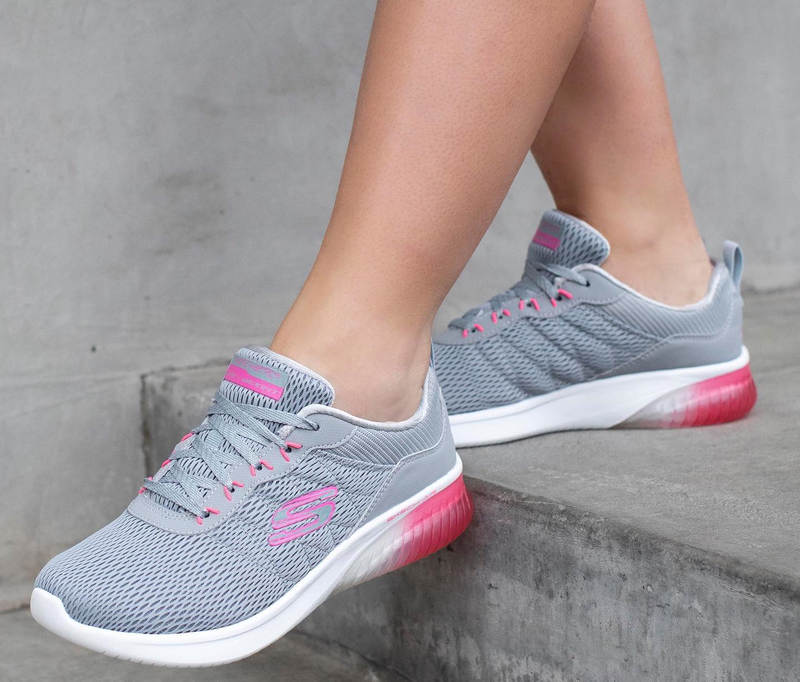 SKECHERS Womens Skech Air Ultra Flex Grey & Pink Tiptoe & Co