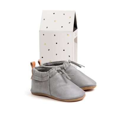 PRETTY BRAVE Grey Moc Baby Shoes