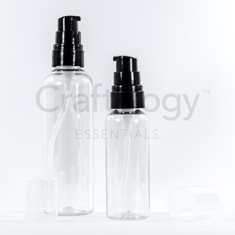 Plastic Gel Pump Bottle (Clear, Black Pump) - Craftology Essentials - Philippines