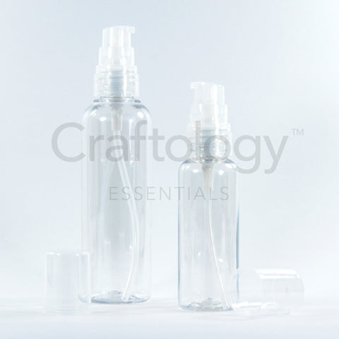 Plastic Gel Pump Bottle (Clear, Natural Pump) - Craftology Essentials - Philippines