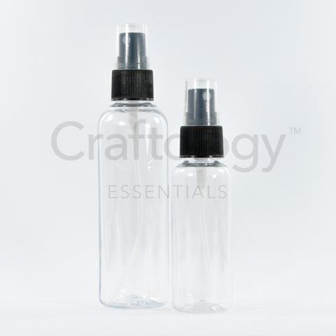 Plastic Spray Bottle (Clear, Black Sprayer) - Craftology Essentials - Philippines