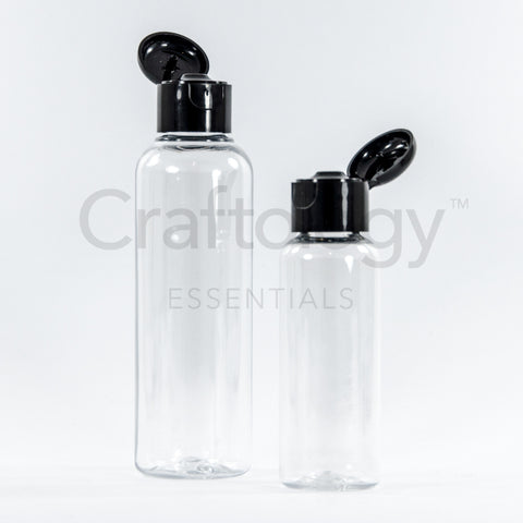 Plastic Flip Top Bottle (Clear, Black Cap) - Craftology Essentials - Philippines