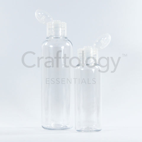 Plastic Flip Top Bottle (Clear, Natural Cap) - Craftology Essentials - Philippines