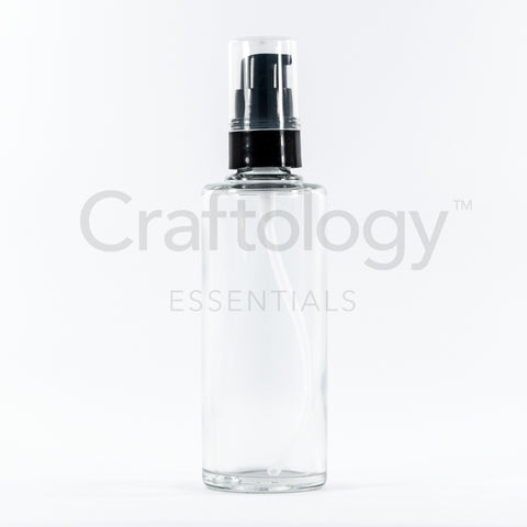 Glass Pump Bottle (Cylinder, Clear, Black Pump) - Craftology Essentials - Philippines