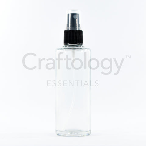 Glass Spray Bottle (Cylinder, Clear, Black Sprayer) - Craftology Essentials - Philippines