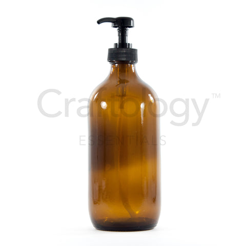 Glass Pump Bottle (Amber, Black Pump) - Craftology Essentials - Philippines