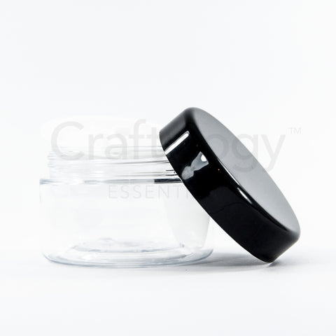 Plastic Jar (Clear, Black Cap) - Craftology Essentials - Philippines