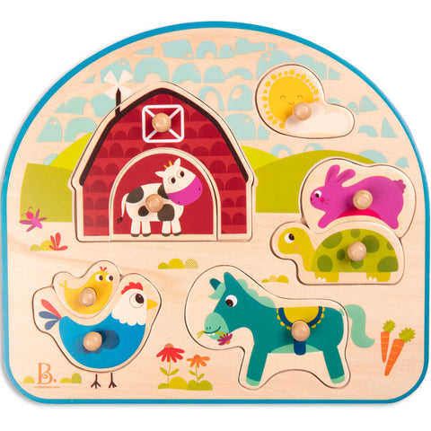B Toys by Battat Puzzle Animals Barnyard Wooden 8pc