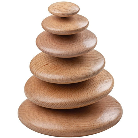 BigJigs Stacking Pebbles Wooden Natural 6pc
