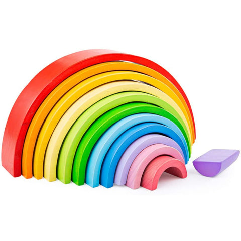BigJigs Stacking Rainbow Wooden Large 12pc