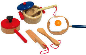 Fun Factory Cooking Set Wooden 9pcs - K and K Creative Toys