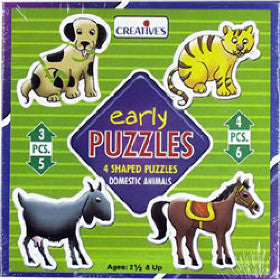 Creatives Puzzle Early Domestic Animals 4 Puzzles 3,4,5,6pcs - K and K Creative Toys
