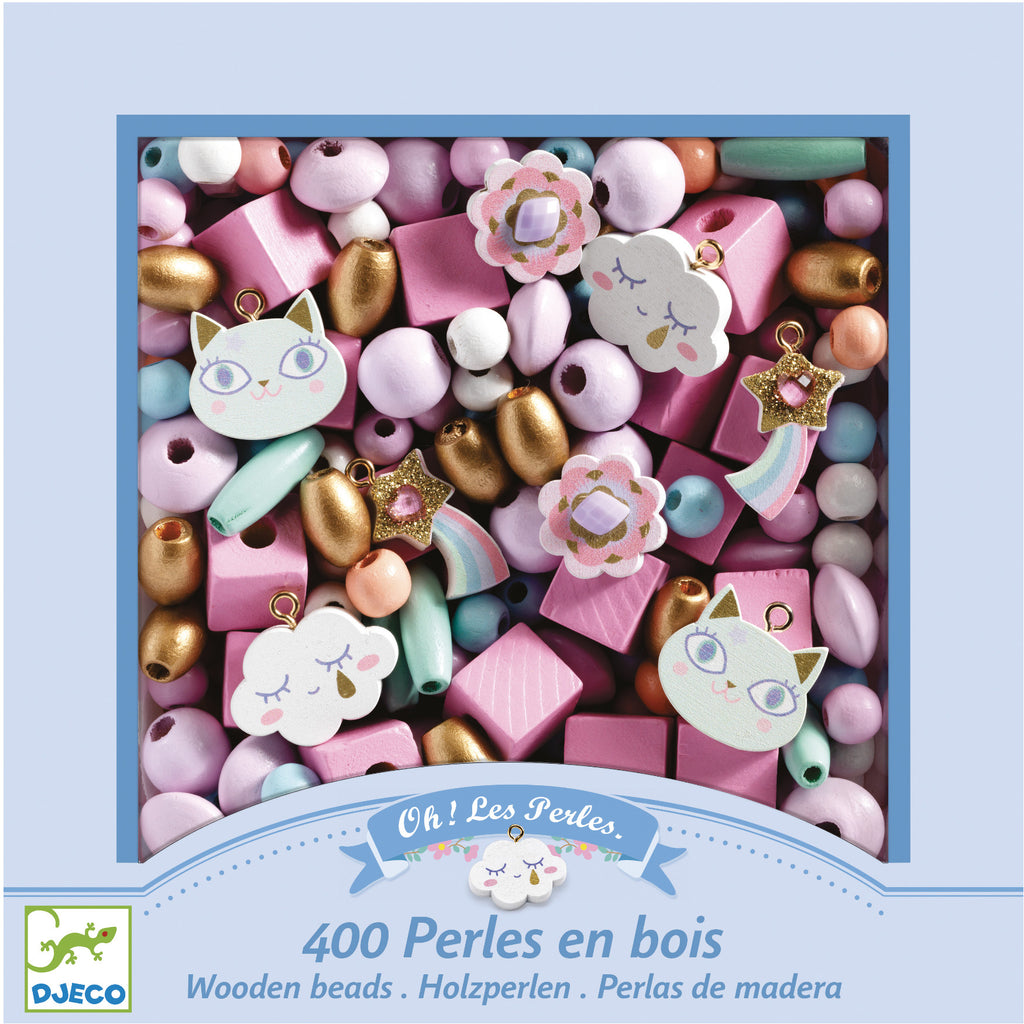 Djeco Beads Wooden Rainbow with Charms 400pc