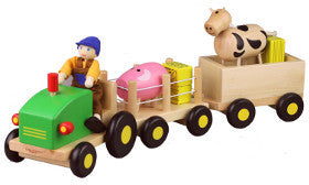 Discoveroo Farm Tractor and Trailer Set Wooden - K and K Creative Toys