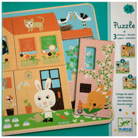 Djeco Puzzle Rabbit Cottage 3 Layers - K and K Creative Toys