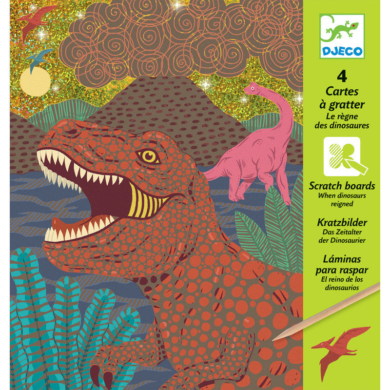 Djeco Scratch Boards When Dinosaurs Reigned - K and K Creative Toys