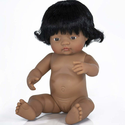 Miniland Doll Girl Latin American 38cm No Clothes with Hair