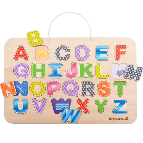 EverEarth Puzzle Alphabet & Magnetic Drawing Board Wooden - K and K Creative Toys