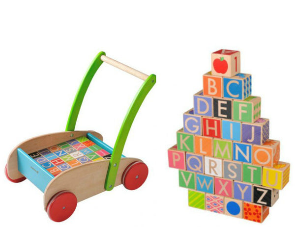 Everearth Walker Wagon Wooden With Blocks