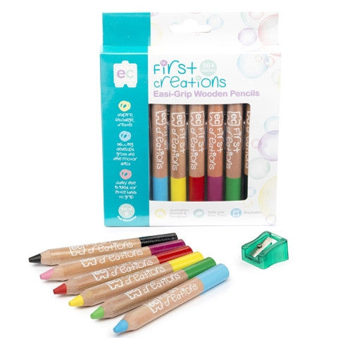 First Creations Easi Grip Watercolour Pencils 6pc - K and K Creative Toys