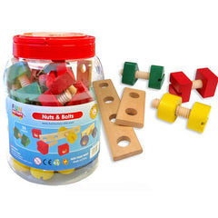 Fun Factory Nuts and Bolts Wooden in Jar 56pc - K and K Creative Toys