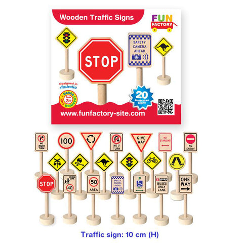 Fun Factory Traffic Signs Wooden 20pc - K and K Creative Toys