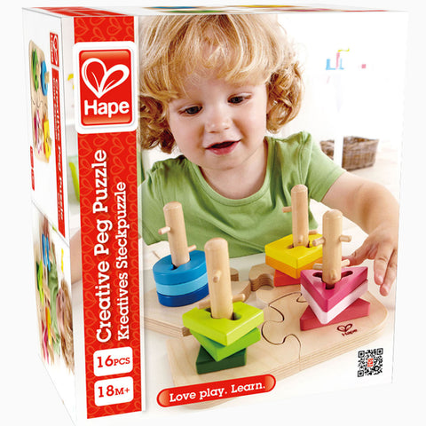Hape Peg Puzzle 16pc Wooden