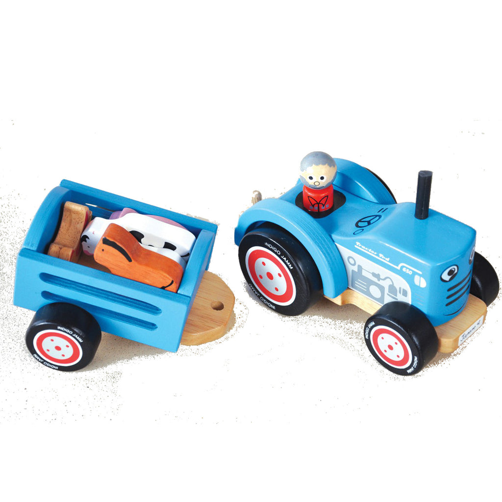 Indigo Jamm Tractor Ted Wooden with 5 Animals 3