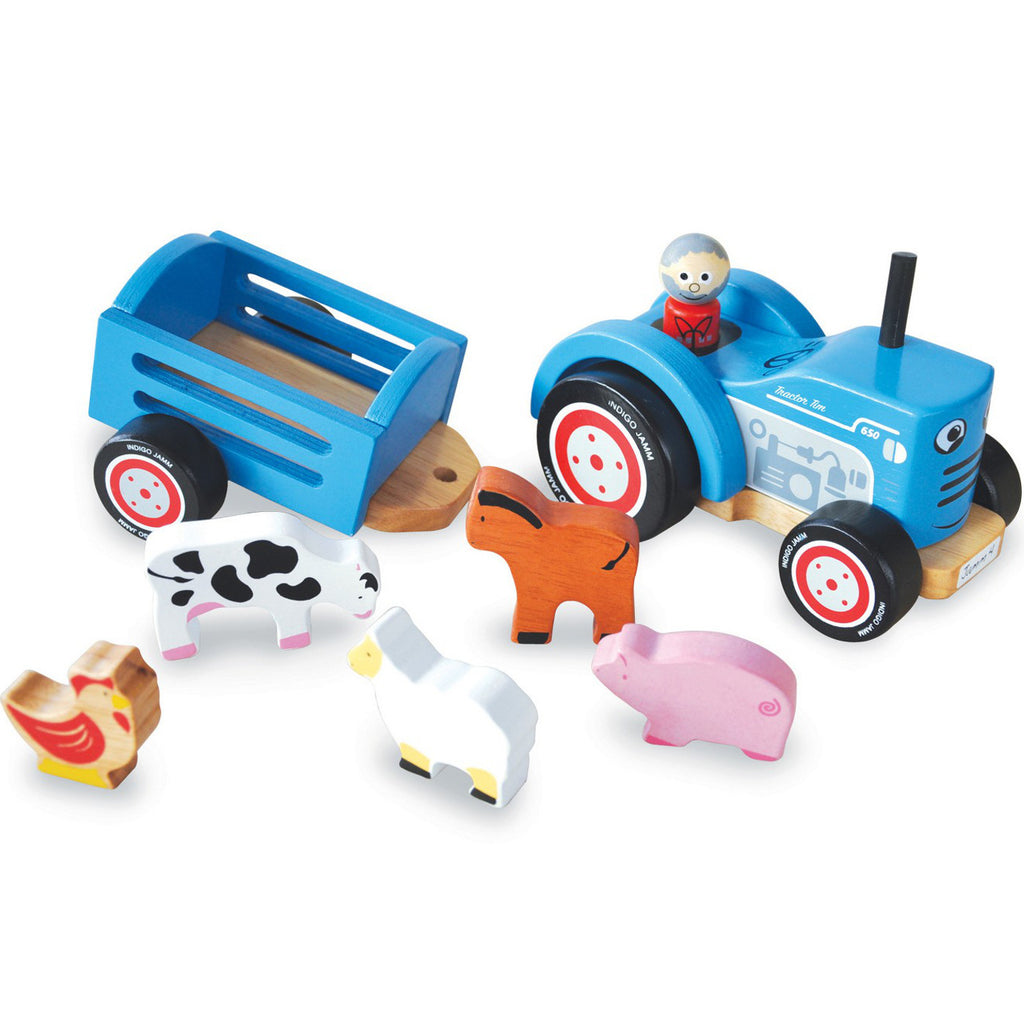 Indigo Jamm Tractor Ted Wooden with 5 Animals 2