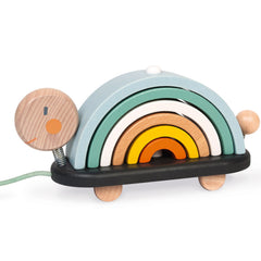 Janod Pull Along and Stack Rainbow Turtle Wooden 1