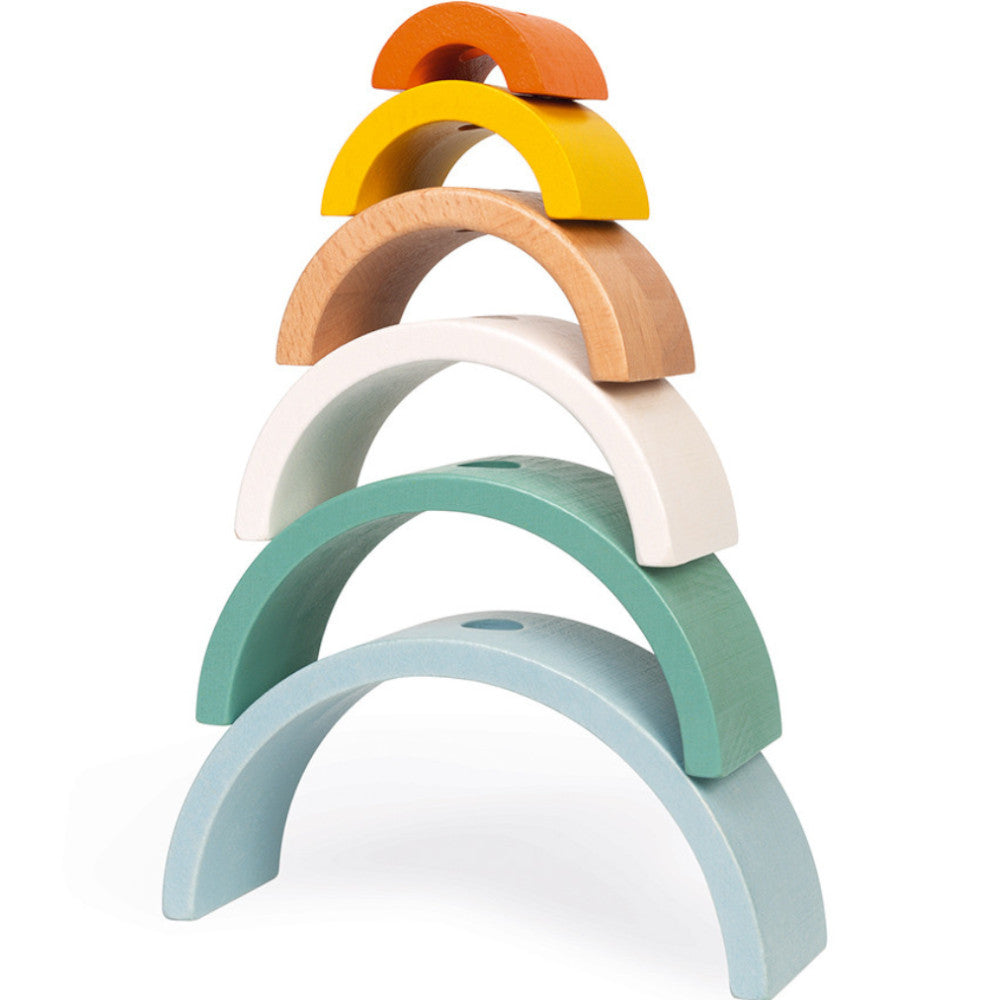 Janod Pull Along and Stack Rainbow Turtle Wooden 2