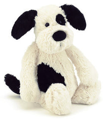 Jellycat Soft Toy Puppy Bashful Black and Cream Medium