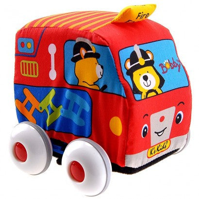K's Kids Car Pull Back Auto Soft Car Fire Engine