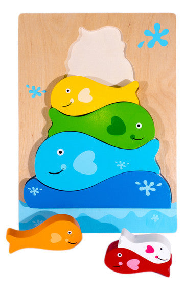 Kiddie Connect Puzzle Fish Stacker Wooden 7pc
