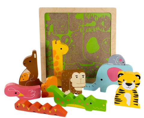 Kiddie Connect Puzzle Wild Animal Wooden
