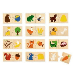 Viga Puzzle Pairs Animal Feeding 24pc