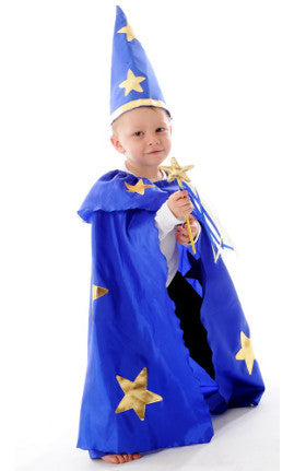 Little Heros Dress Up Wizard Cape and Hat Set (blue/gold)